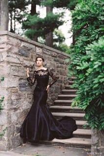 свадебное платье осень черное