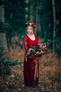 свадебное платье осень красное