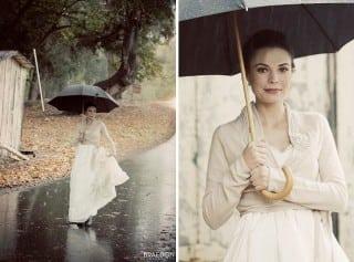 невеста осенью под дождем